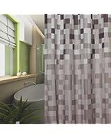 textile rideau de douche 240x180 carreau grise blanche noir marron 240 x 180 + bagues de douche!