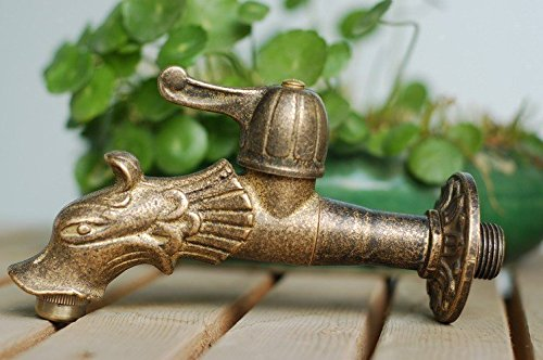 Dragon Animal Shape Garden Bibcock Rural Style Antique Bronze Dragon Tap with Decorative Outdoor Faucet For Garden 0