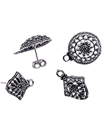 Saamarth Impex 4 Pcs Round And Kite Shape Stud Earrings With 4 Push Accessories Jewelry SIJ 19951