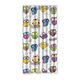 Cartoon Owls with Funny Expressions Custom Window Curtains/Patio Door Curtain/Panels/Treatment, 50 by 96-Inch (One Piece)