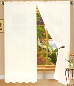 White Linda Sheer Voile Panel Curtain Drape 60 Inches Wide X 84 Inches Long One