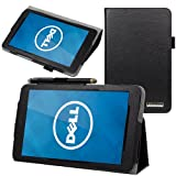 Evecase SlimBook Leather Folio Stand Case Cover for Dell Venue 8 - 8-inch Android Tablet ( Black)