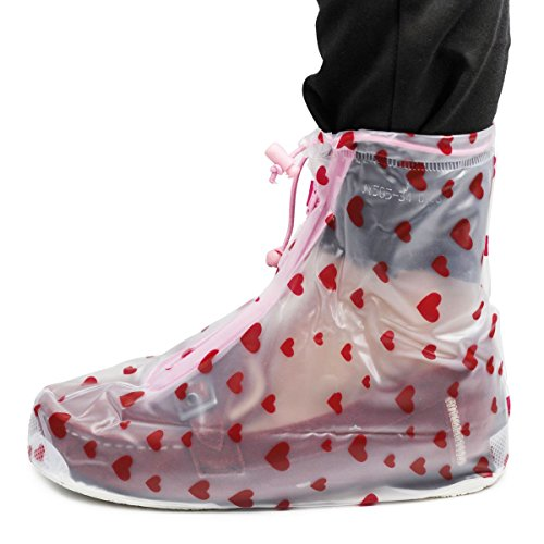 Copriscarpe da pioggia e neve alla moda, proteggere le tue scarpe (M, fit for UK2.5-UK3.5 inner shoes, Pink Heart)