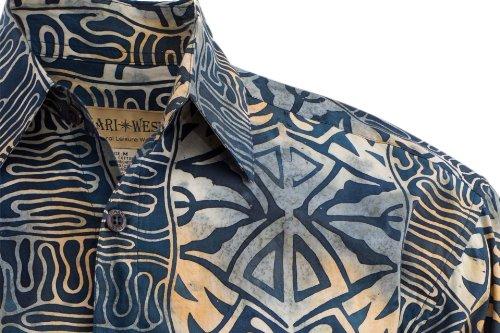 Geometric Evening Cotton Hawaiian Batik Shirt By Johari West
