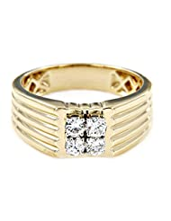 Free Shipping Men's Anniversary Band Ring White CZ Daimond With 18K Yellow Gold Over .925 Sterling Silver - B014FIMMU8