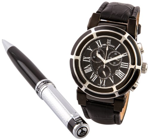 Helveco - Set orologio e penna, cronografo al quarzo, pelle, Uomo