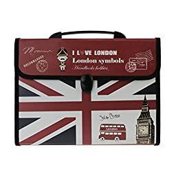 Bao Core Georgie Youth Teen Students London Style A4 13 Pockets with 12 Assorted Color Tabs Top Handle Expending Files Letter Size