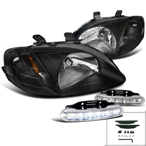 JDM Black Honda Civic DX EX LX Si Headlights+Bumper LED Fog Lamps (Bumper Honda Civic Ex 2000 compare prices)