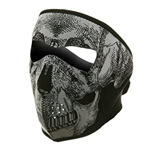 Brand New 2 in 1 Reversible Skull Winter Snowboard Ski Full Face Mask Soft Neck Ear Warmer Protection Vented Fitted Velcro Adjustable Windproof Biker Motorcycle Facemask One Size