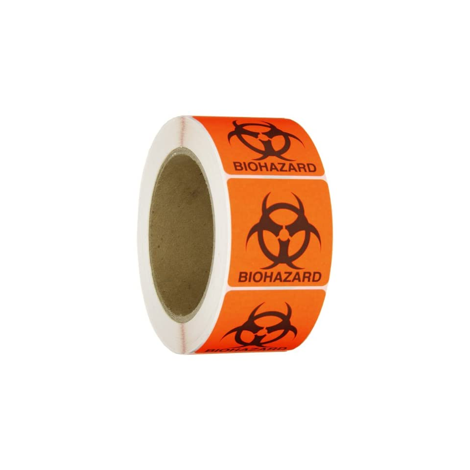 Roll Products 142 0011 Round Cornered Permanent Adhesive Biohazard Warning Label with Black Imprint, Legend Biohazard (with Logo), 2 Length x 2 Width, for Identifying and Marking, Fluorescent Red/Orange (Roll of 500)