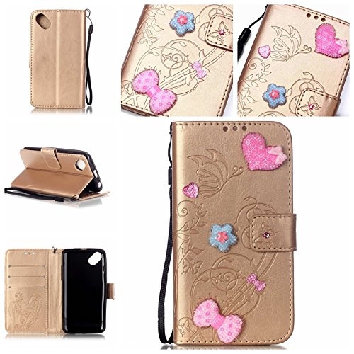 Cozy Hut® Custodia per Wiko Sunset 2,[Shock-Absorption] [Ultra Slim] Portafoglio Wallet Libro Case Cover, Pelle Stampata Morbida PU Libro Cristallo Bling Strass Case Cover Diamante e Cinghia Portatile TPU Silicon Gel Protezione con Funzione di Supporto per Wiko Sunset 2, Amore modello a forma di cuore Farfalla Sollievo - d'oro