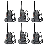 Elephant Xu®Walkie Talkies UHF400-470MHz US Charger 16 Channels 2 Way Radio with Flashlight (Black,Pack of 6)