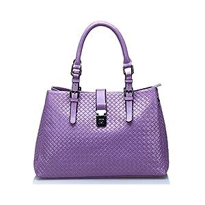 Kattee Weaved Design Large Leather Handbag Shoulder Bag