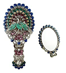 Ivenf Vintage Metal Oval Make-Up Hand/Table Mirror, Peacock Spread Tail, Blue