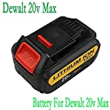 Flylink® Replacement Dewalt 20v Max Premium XR Lithium Li-ion Rechargeable Battery For Dewalt DCB180,DCB204-2,DCB205-2,DCB200-2,DCB200,DCB203,DCB205,DCD740, DCD740B, DCD780, DCD780B, DCD780C2, DCD780L2, DCD785C2, DCD785L2,DCB181, DCB200