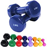 Dumbbells 1kg -10kg (Boxed in a pair) Vinyl Barbell Pair Ladies Fitness Strength Training