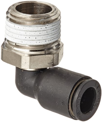 "Legris 3109 08 18 Nylon & Nickel-Plated Brass Push-to-Connect Fitting, 90 Degree Elbow, 5/16"" or 8 mm Tube OD x 3/8"" NPT Male"