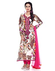 CHARMING Georgette Digital Printed Salwar Kameez, Semi Stitched, Free Size