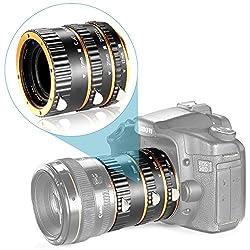 Neewer Auto Focus Macro Extension Tube Set for Canon EOS DSLR SLR Lens, Extreme Close-Ups(Golden), fits Canon EOS 1d 1ds Mark II 10D 40D 50D/Digital Rebel xt xti t1i t2i 300D400D 550D and More