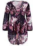Marisota Black & Pink Floral Print Tunic Top Blouse Plus Size 14 to 32 RRP £39 (16)