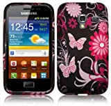 PINK / BLACK BUTTERFLIES GEL CASE FOR SAMSUNG GALAXY ACE PLUS S7500 + FREE SCREEN PROTECTOR