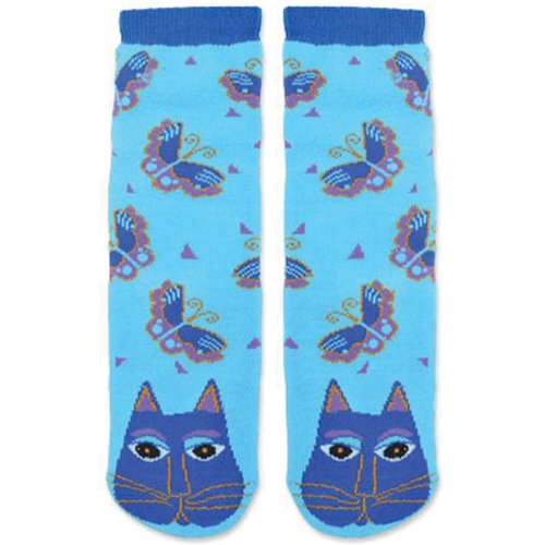 laurel-burch-bolso-de-la-mujer-azul-gato-slipper-sock-9-11-color-turquesa