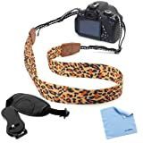 BIRUGEAR Leopard Pattern Camera Shpolder/Neck Strap + Hand Strap for Nikon D7100 D7000 D5200 D3100 D800 D600 D90 L820 L810 L120 P520 P510 Digital Cameras *with Cleaning Cloth*