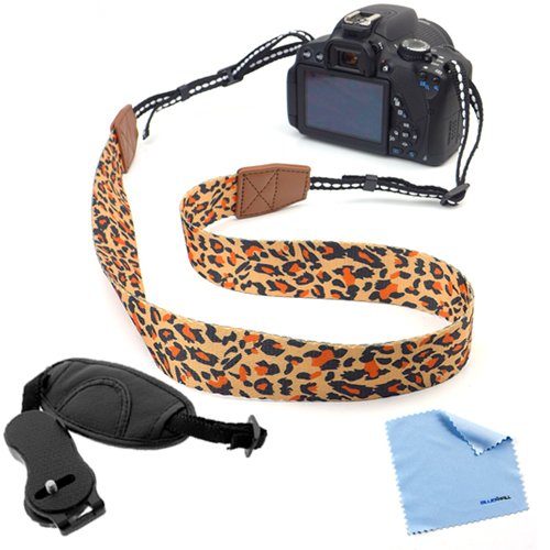 Birugear Hand Strap + Leopard Pattern Camera Shoulder/Neck Strap For Nikon L830 L820 L810 L120 P600 P530 P520 P510 D7100 D7000 D3100 D810 D800 D600 D90 Digital Cameras *With Cleaning Cloth* front-1071508