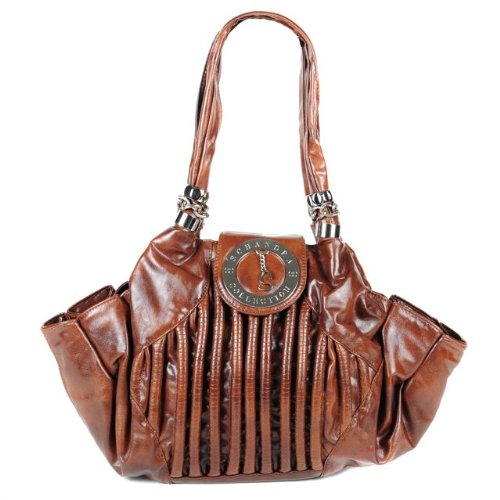 Schandra Faux Leather Shoulder Bag with Flap and Charm Detail