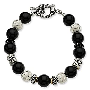 Sterling Silver with 14k Yellow Gold 10.5mm Onyx & Enameled Beaded 8.25in Bracelet
