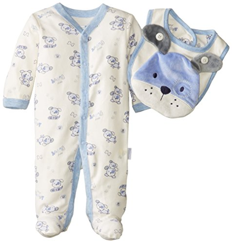Vitamins Baby Baby-Boys Newborn Pup 2 Piece Footed Coverall Set With Bib, Ivory, 3 Months front-974328