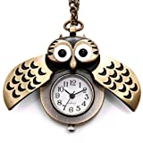 JewelryWe Cute Antique Owl Pocket Watch Pendant Necklace Colour Brass 31 Inch Chain Christmas Gift (with Gift Bag)
