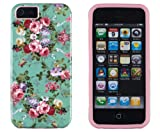 DandyCase 2in1 Hybrid High Impact Hard Vintage Sea Green Floral Pattern + Pink Silicone Case Cover For Apple iPhone 5S & iPhone 5 (not 5C) + DandyCase Screen Cleaner Reviews