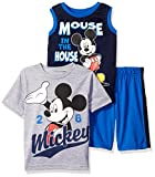 Disney Boys 3 Piece Mickey Mouse T-Shirt Muscle Tee and Shorts Set