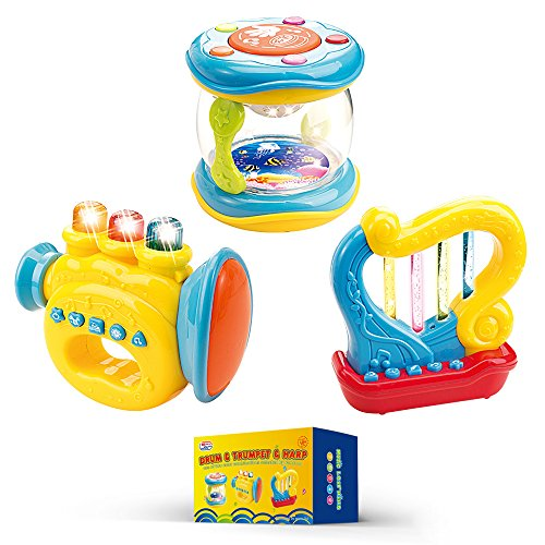 Musical-Instruments-for-Babies-Set-of-3-Trumpet-Drum-Harp-Music-Toys-with-Batteries-Included