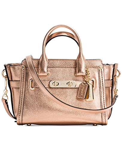 Coach Swagger 20 Metallic Gold Leather Satchel Crossbody Bag 35990