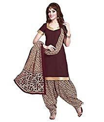 Susetrendz Women's Cotton Unstitched Dress material (LFPBLR-117_Brown_Freesize)