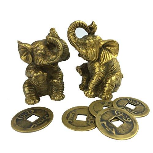Golden Elephant Fengshui Couple of Copper Fortune Elephant Brass Office Feng Shui Treasure Elephant Household Decoration