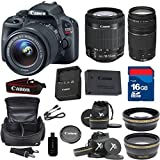 Canon SL1 Digital SLR Camera with EF-S 18-55mm f/3.5-5.6 IS STM Lens + 75-300mm III Zoom + XIT Wide Angle + XIT Telephoto + High Speed 16GB Memory Card + 8pc Bundle - International Version