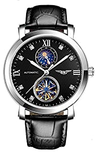 Fanmis Business Waterproof Moon Phase Automatic Mechanical Men Watch Black Leather Strap Silver