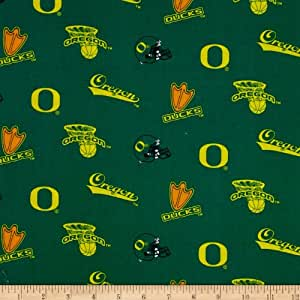 collegiate cotton broadcloth university of oregon green fabric by the yard. Black Bedroom Furniture Sets. Home Design Ideas