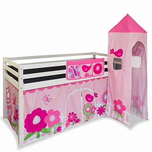 Lit enfant mezzanine+ rideau+tour rose 90x200 cm