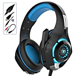 ARINO 3.5mmゲーミングヘッドセット/ヘッドホン バーチャルサラウンド音質 USB接続 騒音抑制 ノイズキャンセリング機能付 マイク/LEDライト付 PC/スマホiPhone6/6S/6Plus/ipad /PS4/Xbox one/Windows XP/7/8/8.1/10対応可能 Beexcellent GM-1 (ブラック+ ブルー)