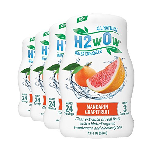 H2wOw Water Enhancer Drops - ORGANIC & Natural Extracts of Real Fruit - a Hint of Organic Stevia - Makes 768 oz of Delicious Mandarin Grapefruit Flavored Water (Soda Stream Flavors Orange compare prices)