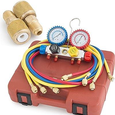 ARKSEN© 4 -Valve Manifold Gauge, R404A R410A R22 HVAC, A/C, Brass Adapters, Red