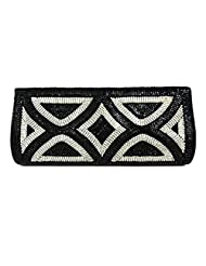 SMART PARTY WEDDING BLACK CLUTCH DESIGNED WITH BEADS AND DIAMANTE