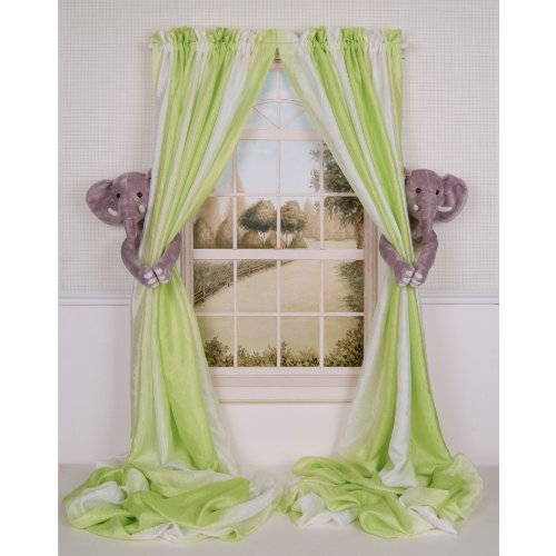 Curtain Critters Plush Jungle Safari Elephant Curtain Tieback, Car Seat, Stroller, Crib Toys Set (2)