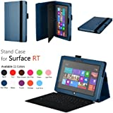 Elsse (TM) Premium Folio Case with Stand for Microsoft Surface RT / Surface 2 (Does not fit Surface Pro Version / Keyboard and Tablet NOT included) (Surface 2 / Surface RT, Dark Blue)