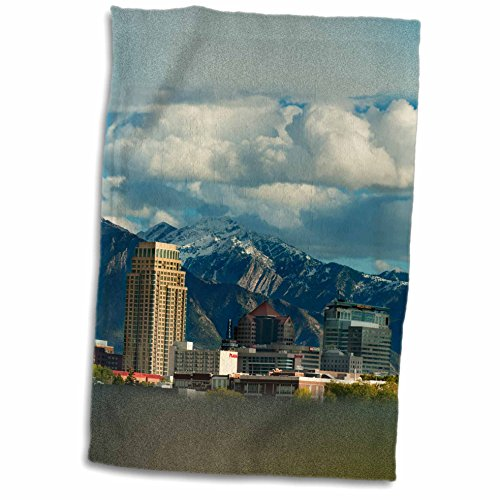 3dRose Danita Delimont - Utah - Salt Lake City with Wasatch Front, Utah, USA - US45 HGA0460 - Howie Garber - 12x18 Towel (twl_147345_1)