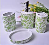 Green Floral - 4 Piece Set Ceramic Bathroom Accessory,Luxury Decor,Elegant Designing Bathrooms,Wedding Gifts,Soap Dispenser/Toothbrush Holder/1 Bathroom Tumbler/Soap Dish